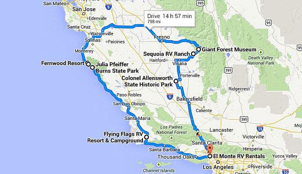 Rv routes california